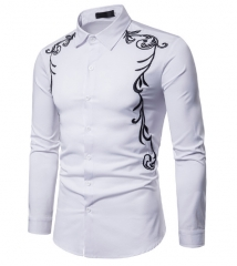 Fashion Long Sleeve Shirt Palace Style Embroidery Casual Slim Fit Male Shirts Turn-Down Collar Shirt white s
