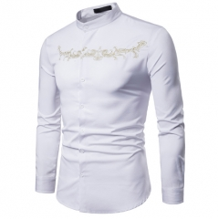 Fashion men shirt Long Sleeve Shirt Palace Style Embroidery Casual Slim Fit Male Shirts white s