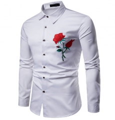 Men Shirt Clan Wind Rose Embroidery Casual Slim Fit Male Shirts Turn-Down Collar Men long Shirt white s