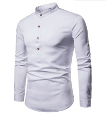 Men Shirt Hot Sales Solid colour Henry With Large Size Brand Shirt Long-Sleeve Shirt Casual Shirts white s