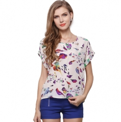Women's popular large size shirt print t-shirt short-sleeved Multicolor1 s