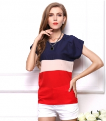 Women's fashion comfortable trend color matching t-shirt red s
