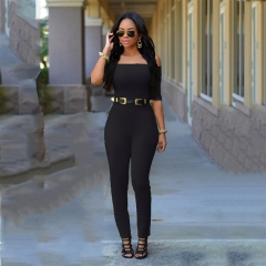 Fashion Style Jumpsuits summer rompers slash neck sexy rompers overalls full length rompers black s