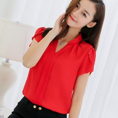New women's solid color bottoming shirt fashion Slim large size short-sleeved casual shirt red s