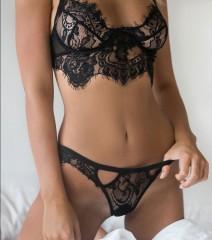 Women's Lace Sling Sexy Cutout Set Fashion Lingerie Set black s