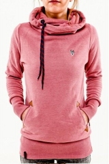 Autumn fashion hooded long sleeve pocket embroidered hooded sweater pink s