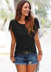 Ladies large size round neck short sleeve cuff tassel knotted t-shirt cotton top black s cotton