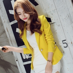 Autumn Lady Women's Small West Slim Long Sleeve Solid Color Jacket Suit yellow s