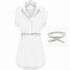Summer dress women's big-name short-sleeved loose shirt skirt chiffon dress l white