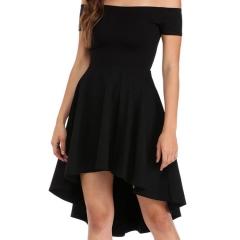 Summer word shoulder swing dress tuxedo dress women's clothing s black