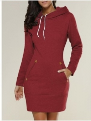 New hooded zipper pullover in the long sweater dress 5 colors s red