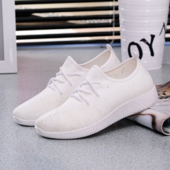 Breathable shallow mouth shoes low to help fly woven shoes female solid color student coconut shoes white 35