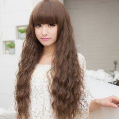 New Wig ladies fashion fluffy long curly hair wig brown one size
