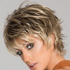 New European and American wig short ladies hair style natural realistic headgear gold one size