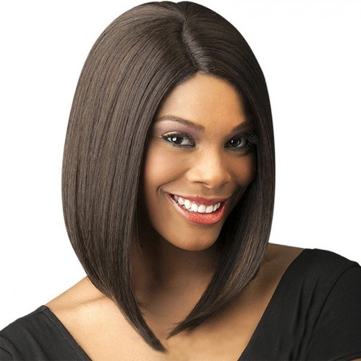 New European and American wig women's short hair chemical fiber hair sets claret one size