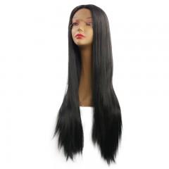 New 14 inch women's long straight hair wig chemical fiber hood black 14