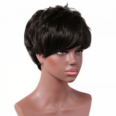 New Realistic short paragraph oblique bangs small curly hair black one size