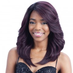 New Black and purple mixed long curly hair fashion realistic wig black-purple one size