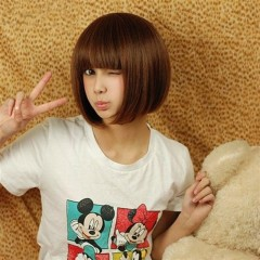 New Girls fashion short hair wave head wig hairstyle light brown one size