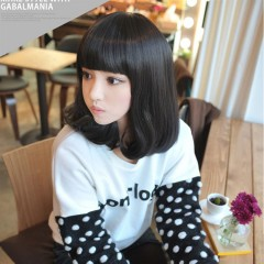 New Wig fashion female face in long hair wig black one size