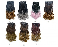 Wig flakes long curly hair extension piece color gradient wig multi01 one size