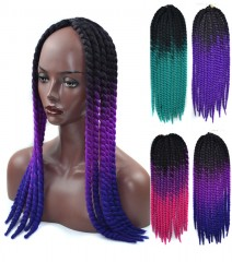 22-inch dyed gradient twisted haircut black braid dyeing multi01 one size