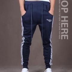 Mens Pants Cotton Trousers Men Casual Sports Skinny Pants Vertical Strip Pants Jogging Slacks blue m