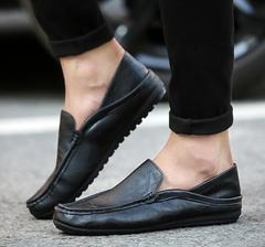 New men's shoes, feet, breathable men's shoes, casual and comfortable black leather black 39