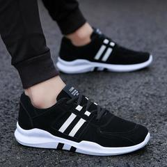 New matching striped lace men's shoes personality fashion wild casual sports running men's shoes black 39