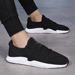 Sports men's shoes new breathable mesh shoes men's running shoes mesh casual travel tide shoes black black 39