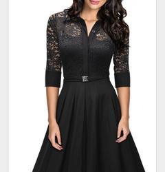 Dress Women Vintage Dress Vestidos With Belt Long Sleeve Audrey Hepburn Robe Retro Rockabiliy s black