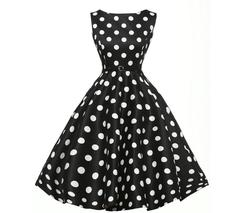 Women Vintage Rockabilly Pinup Party Dresses Female Black White Polka Dot Print Dresses Vestidos s black
