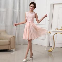 New fashion sleeveless lace chiffon slim casual hollow out mini dress wholesale vestidos s pink