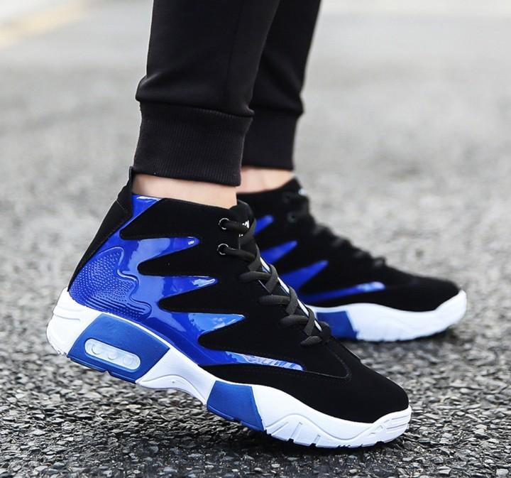 Men's shoes tide black and white color trend sports shoes men's casual shoes blue 43