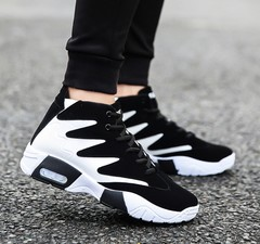 Men's shoes tide black and white color trend sports shoes men's casual shoes white 39