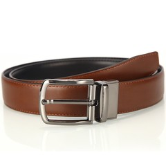 Men's pin buckle rotating leather belt fashion casual belt without skin two-layer leather Joker Korean men-120CM-brown