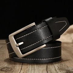 Men's leather belt gold world casual pin buckle leather waist band belt men-120CM-black3