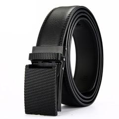 New business automatic buckle belt men's leather belt belt wild leather belt gold world-120CM-black
