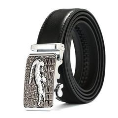 Men's automatic buckle belt crocodile business leather automatic buckle belt men's leather belt-120CM-Silver2
