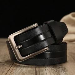Men's leather belt gold world casual pin buckle leather waist band belt men-120CM-black2