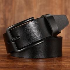 Men's leather belt wild black buckle leather belt men's pin buckle belt-120CM-black