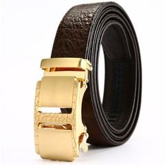 Grain belt business men's leather automatic belt leather belt automatic buckle belt-120CM-gold