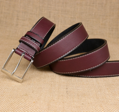 Men's pin buckle two layer leather leather belt men's retro belt belt casual-120CM-brown