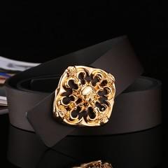 Plate buckle men's leather belt smooth buckle fashion wild wide belt men's black skull men's belt-120CM-gold