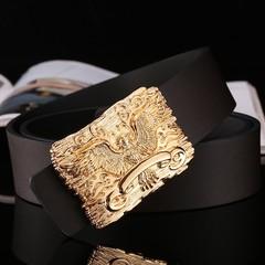 Fashion gold faucet buckle men's belt men's leather belt Korean casual smooth buckle wide belt male-120CM-gold