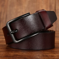 Men's leather belt wild black buckle leather belt men's pin buckle belt-120CM-brown