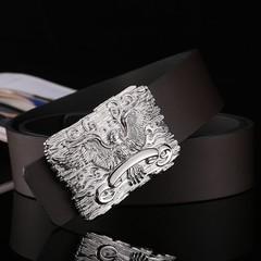 Fashion gold faucet buckle men's belt men's leather belt Korean casual smooth buckle wide belt male-120CM-Silver
