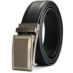 New men's automatic buckle belt leather business two-layer leather belt casual men's leather belt-120CM-black