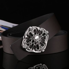 Plate buckle men's leather belt smooth buckle fashion wild wide belt men's black skull men's belt-120CM-Silver