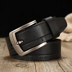 Men's leather belt gold world casual pin buckle leather waist band belt men-120CM-black1